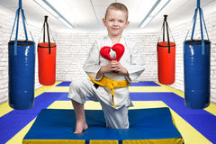 The boy athlete of karate gives a heart made of gloves ,a Declaration of love ,sympathy .Karate on the Mat in the gym. Karate on the Mat in the gym stock photography