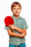 Boy athlete in table tennis player with racket Royalty Free Stock Image