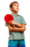 Boy athlete thoughtful player table tennis racket Stock Image
