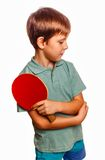 Boy athlete upset in table tennis player with Stock Photo