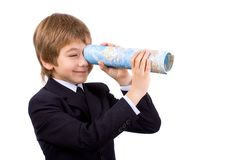 The boy with the atlas. Of the world, isolated Royalty Free Stock Photography