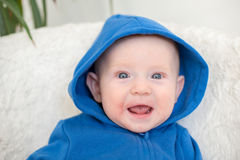 Boy with atopic dermatitis smiles. And rejoices royalty free stock photo