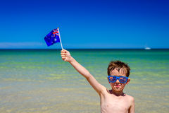 Boy with Australian flag  on Australia day Stock Photography
