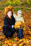 Boy in autumn leaves Stock Photo