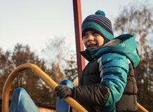 Boy in autumn Park Royalty Free Stock Images
