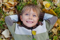 Boy in a autumn park Royalty Free Stock Photography