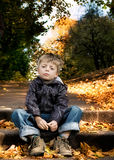Boy in Autumn Scene. Royalty Free Stock Images