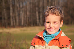 Boy in autumn wood Royalty Free Stock Photos