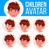 Boy Avatar Set Kid Vector. Kindergarten. Face Emotions. Portrait, User, Child. Junior, Pre-school, Kiddy. Colorful. Boy Avatar Set Kid Vector. Kindergarten. Face royalty free illustration