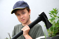 Boy with ax Royalty Free Stock Image
