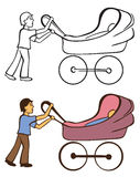 Boy and baby carriage Stock Photos
