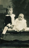 Boy and baby in the early 1900s Royalty Free Stock Image