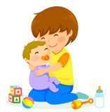 Boy and baby. Little boy hugging a baby Stock Image