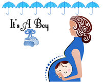 It is a boy Baby Mother booties. Pregnant Woman with face of baby girl on her tummy booties and Umbrella Baby Shower Royalty Free Stock Photos