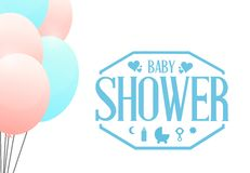 Boy. baby shower balloons sign illustration Royalty Free Stock Images