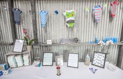 Boy Baby Shower Decorations. Baby Shower Decorations for a Boy royalty free stock image