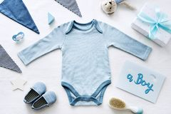 A Boy Baby Shower gift collection stock images