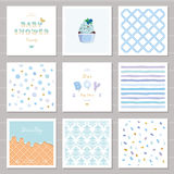 Boy baby shower templates seamless patterns set in pastel blue. Also can be used for birthday greeting cards, kids. Clothes, bakery, notebook cover design Royalty Free Stock Photography