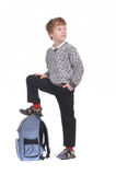 Boy with back pack Royalty Free Stock Images