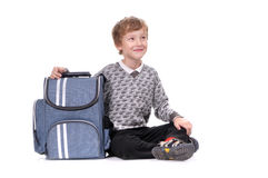 Boy with back pack Stock Images