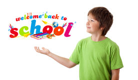 Boy with back to school theme isolated on white Royalty Free Stock Image