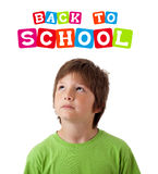 Boy with back to school theme isolated on white. Boy looking with back to school theme isolated on white Royalty Free Stock Photos