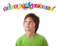 Boy with back to school theme isolated on white Stock Photography