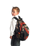 Boy and backpack Stock Photos