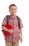 Boy with backpack and book Royalty Free Stock Photo