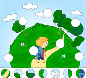 A boy with a backpack camping in the wood. Complete the puzzle a Royalty Free Stock Image