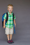 Boy backpack first day of preschool, Kindergarten Stock Photography