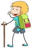 Boy with backpack going hiking Stock Photos