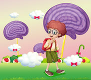 A boy with a backpack. Illustration of a boy with a backpack Royalty Free Stock Photography
