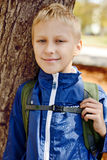 Boy with backpack Stock Photos