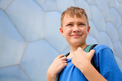 Boy with the backpack in the Olympic Park in Beijing Royalty Free Stock Photography