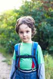 A boy with a backpack. Royalty Free Stock Photography