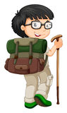 Boy with backpack and walking stick Royalty Free Stock Image