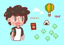 Boy backpacker traveling illustration Stock Images