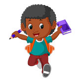 Boy with backpacks cartoon Stock Images