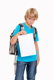 Boy with bad report card. Blond boyin front of white background with bad report card stock photos