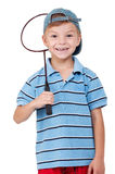 Boy with badminton racket Royalty Free Stock Photography