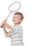 Boy with badminton racket Royalty Free Stock Photo