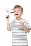 Boy with badminton racket Stock Photo
