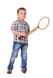 Boy with badminton racket on white Stock Images