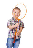 Boy with badminton racket on white Royalty Free Stock Photography