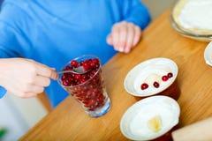 Boy baking cupcakes closeup Stock Photos