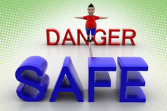 Boy balanced through danger and safe In Halftone Stock Photo