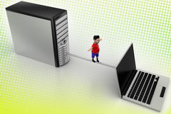 Boy balanced through Pc And Laptop In Halftone Stock Photography