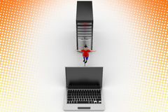 Boy balanced through Pc And Laptop In Halftone Stock Image