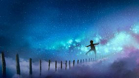 The boy balancing on wood sticks against the Milky Way Royalty Free Stock Image